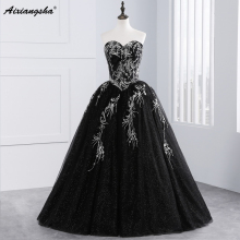 Black Quinceanera Dresses Tulle With Gold Embroidery Beaded Sweet 16 Dresses Puffy Ball Gown Vestido De 15 Anos Vestidos 2017(China)