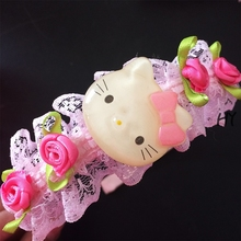 1pcs/lot New Lovely Roses Flowers Kitty Lace Headbands Hair Ornament Embellishment