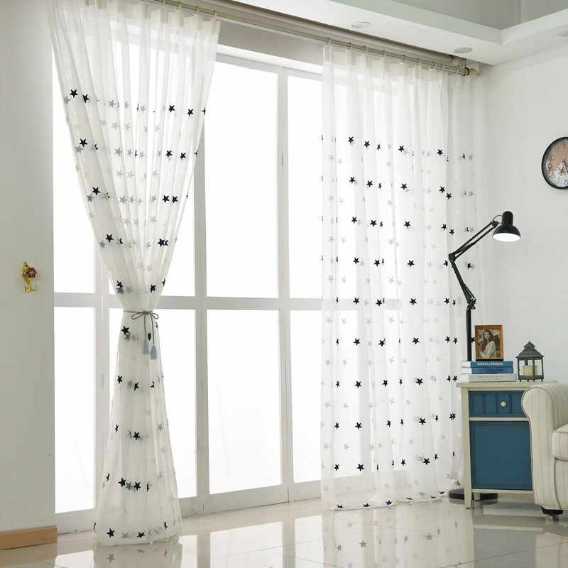 Modern Star Embroidered White Sheer Curtains for Living Room Bedroom Kitchen Tulle Curtains Kids Baby Room Door Window Curtains