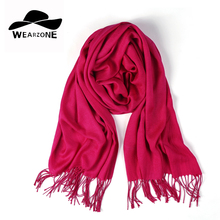 2017 Shawls and Scarves Cashmere Cape Plain Winter Warm Scarf Luxury Wezrone Pashmina Soft Scarves Female Tassel Cashmere Women(China)