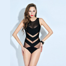 Sexy Transparent Women One Piece Swimsuit Mesh Halter Scrunch Monokini Quick Dry Swimwear Female Slimming Bodysuit Bathing Suit