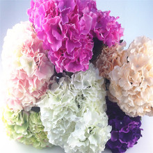 Hot aylinedo Artificial Hydrangea Silk Flower 5 Big Heads Bouquet Home Decoration Many Colors Fleurs Artificielles