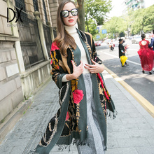 2017 Winter Wool Large Scarf Luxury Brand Shawl Muslim Hijab Scarves Poncho Pashmina Cashmere Wraps Warm Face Shield for Women(China)