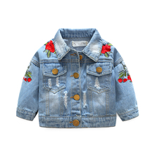 Baby Girls Denim Coats Vintage Jeans Jackets for Girl Toddler Denim Jackets Infant Jean Rose Flower Embroidery girl sweaters(China)