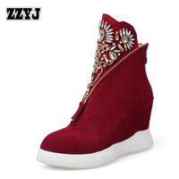 ZZYJ Nubuck Genuine leather lady ankle boots high Wedges national style diamond beads zipper knight boots warm large size shoes