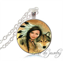 Native American woman with wolf pendant,silver chain art picture necklace glass cabochon pendant necklaces women accesssories