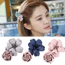 M MISM 2017 Handmade Fabric Flower Hairpins For Women Girls Sweet 3D Floral Hair Accessories Beauty Female Hair Clips Hairgirps(China)