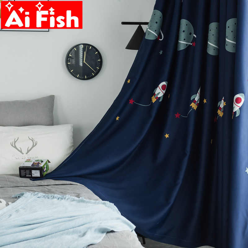 Boy Cartoon Blackout Curtain Fabric Embroidered Curtain For Children's Bedroom Navy Blue Outer Space Sunshade Cloth my058-4