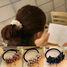 Fashion Korean Hair Accessories Rhinestone Imitation Pearls Beads Rubber Elastic Hair Bands Ponytail Holder For Women Headwear