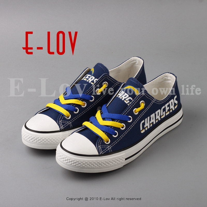 2018 Cool Design Print Canvas Shoes Los Angeles Chargers Fans Customization Lace Shoes Holiday Gift Drop Shipping<br>