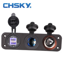CHSKY 1Set 12V Car Cigarette Lighter Socket With LED 12V Dual Socket USB Adapter Charger With Car Cigarette Light