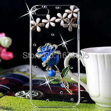 for Lenovo S90 Rhinestone Case Blue Red Pink diamond flower transparent hard plastic mobile phone protection shell free shipping