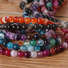 "Great Choice Mix Color Natural Stone Strip Round Beads 4MM 15"" Strand For Jewelry making Bracelet and Necklace DIY BTB025(China)"