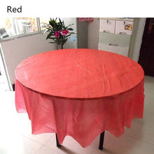 Round Plastic Tablecloths Birthday Candy Color Table Cover Wedding Party Supplies 213cm *213cm(China)