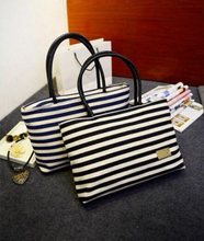Women bag/2015 Dongkuan/canvas woven bag/square cross-section large bag/navy striped/fashion casual shopping bags /Free Shipping(China)