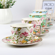 Exporting high-grade 45% bone china  coffee cups and saucers sets glaze flower ceramic coffee tea cups and saucers