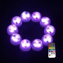 New Style 20PCS Submersible RGB Battery Remote LED Light Electronic Candle Round For Garden and Flower Arrangement Decoration(China)