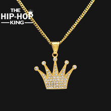 Hip Hop King Crown Pendant Necklace Stainless Steel Gold Color Iced Out Rhinestone Charm Necklace With 3mm 60cm Cuban Chain(China)