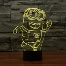 2016 new small yellow people 2 3D light colorful touch LED visual light gift atmosphere table lamp