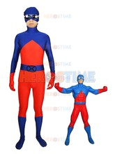 Superhero Atom Costume Ray Palmer red and blue Spandex Adult Halloween Cosplay Superhero Costume For man hot sale(China)