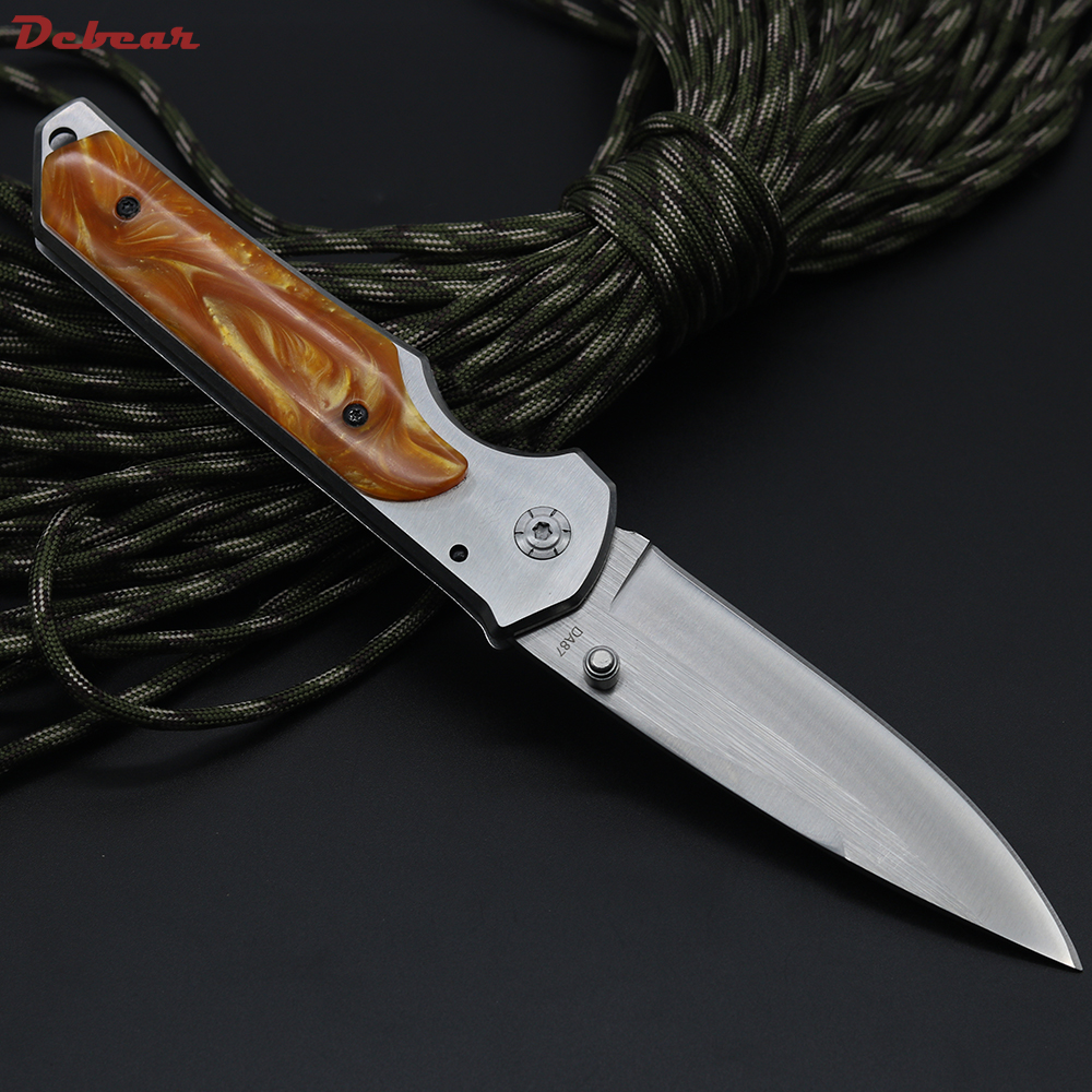 Dcbear Tactical Survival Folding Knife 440C Blade Steel + Resin Handle Bearing Knife Camping Pocket Knives OEM Tools EDC<br><br>Aliexpress