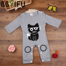 BBYIFU Cute 2017 Summer Baby Rompers Half Sleeves 100% Cotton Infant Cat Coveralls Newborn Baby Boy Girl Clothes Baby Clothing