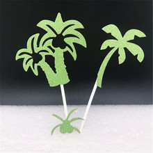 1pc Green Big Coconut Tree Cake Topper Paper Inserted Card Flag Child Happy Birthday Theme Party Dessert Scene Decorations(China)