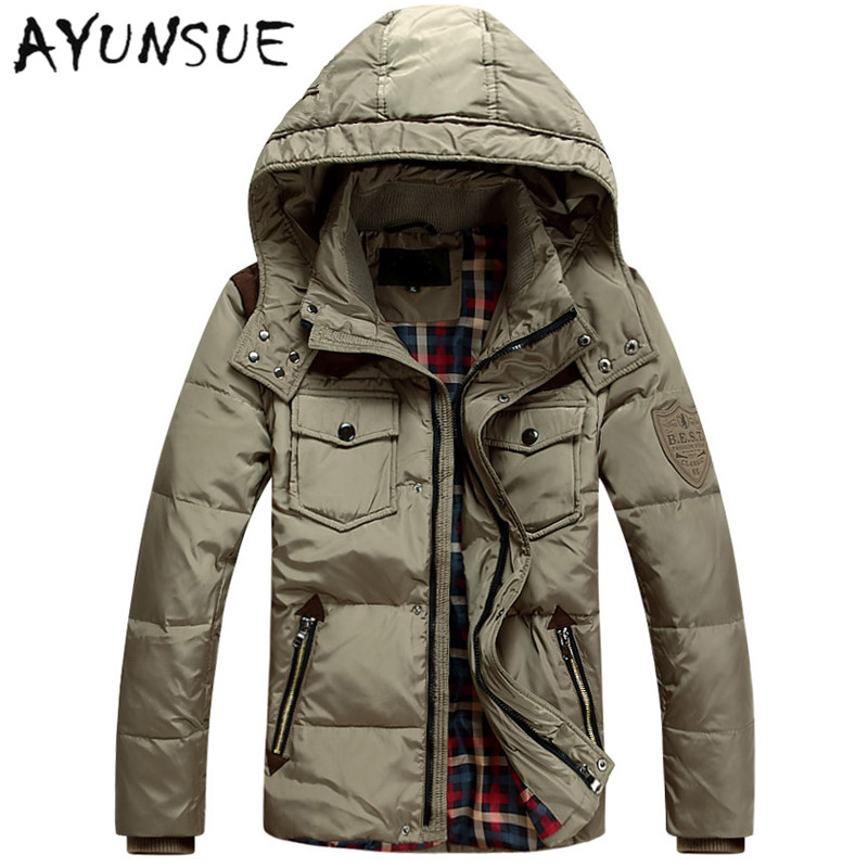 2019 Winter Jackets For Men Duck Down Jacket Men Thick Short Slim Coat Casual Outwear Windproof Warm Parka Plus Size M-3XL HJ372