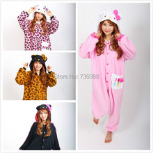 Novelty Anime Hello Kitty Leopard Kitty KT Cat Onesie Cosplay Pajamas for Women Men Adult Unisex Christmas New Year Costumes(China)