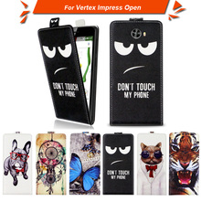 High quality fashion cartoon pattern flip up and down leather case for Vertex Impress Open,Free gift(China)