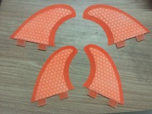Free Shipping Orange Honeycoomb Fiberglass Fcs Surfboard Fins/Surf Fins/Quad fins/Four pieces fin