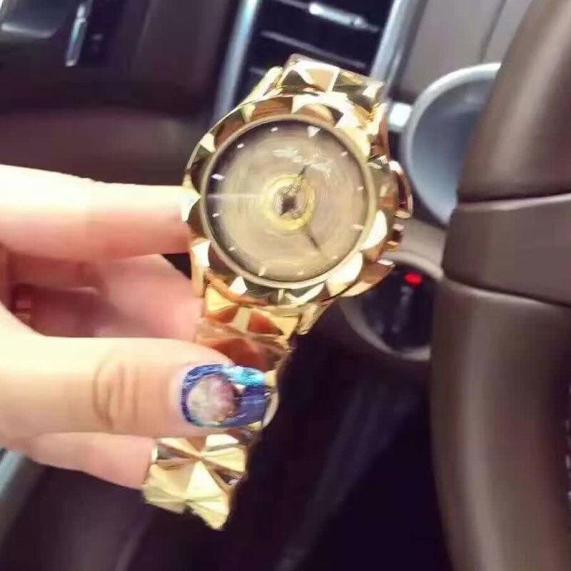New Women Stainless Steel Watch Lady Shining Rotation Dress Watch Big Diamond Stone Wristwatch Lady Silver Rose Gold Watch<br><br>Aliexpress