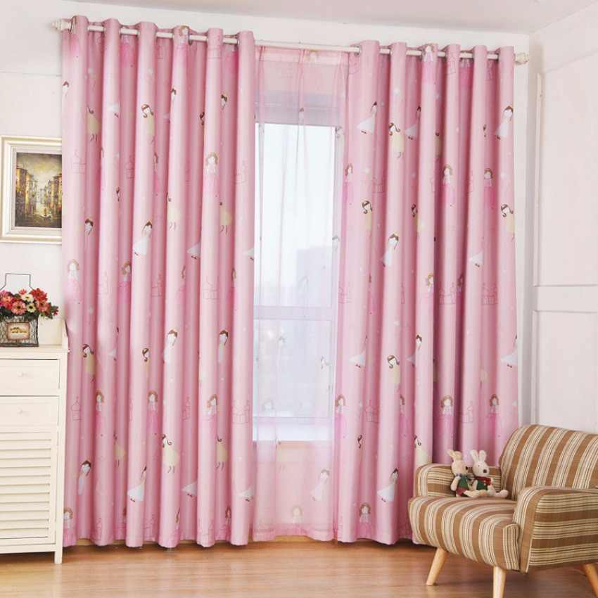 Cartoon Princess Printed Curtain for Girls Baby Room Children Bedroom Living Room Curtain Drapes Cortinas Treatment T&139#30