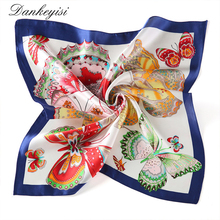 DANKEYISI Fashion Silk Scarf Square Handkerchief Women Square Scarf Luxury Brand Silk Scarf Female Print Floral Neck Scarves