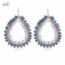 Badu Handmade Wholesale Crystal Crochet Water Drop Pendant Vintage Dangle Earrings Fashion Ear Accessories Party Jewelry(China)