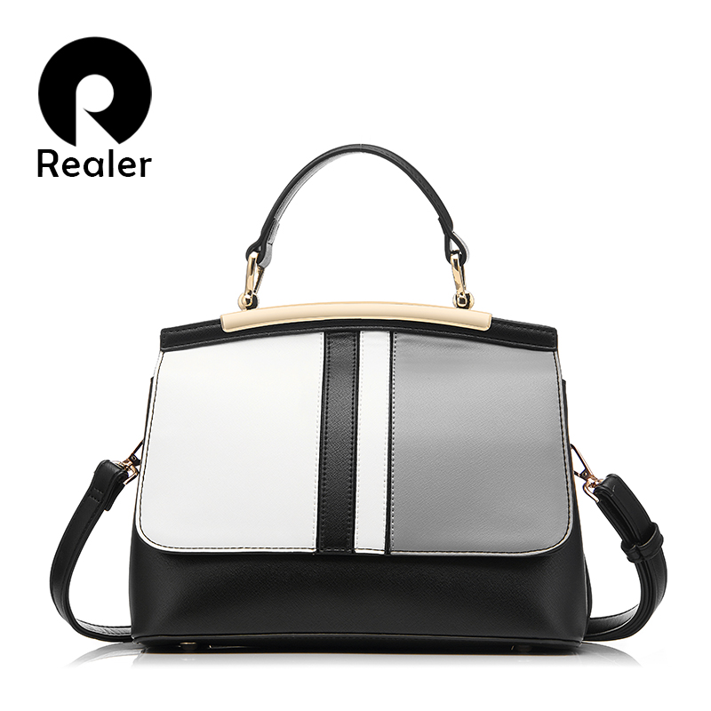 REALER Brand Women Handbag Fashion Black and White Patchwork Tote Bag High Quality Artificial Leather Shoulder Crossbody Bags(China (Mainland))