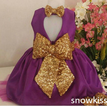 2016 Cheap Purple flower girl dresses with Golden Bow Key-Hole baby Birthday Party Dress toddler Girl pageant Dress ball gowns