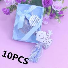 10PCS Silver Boy and Girl Bookmark Boxed Party Favor Gift Baby Shower Holy Communion Giveaway Gifts Wedding Favours For Guests(China)