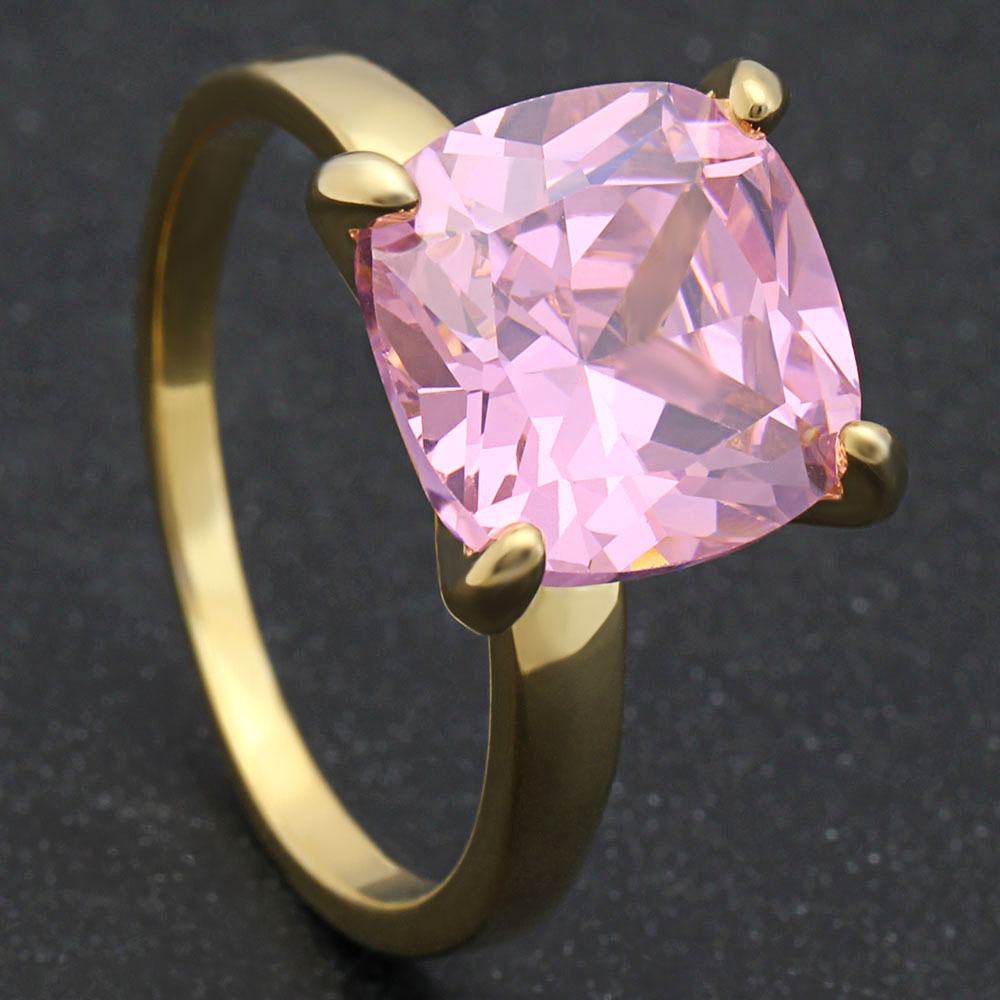 2018 Hainon Female Luxury Rings Jewelry Engagement Ring Pink Square ...