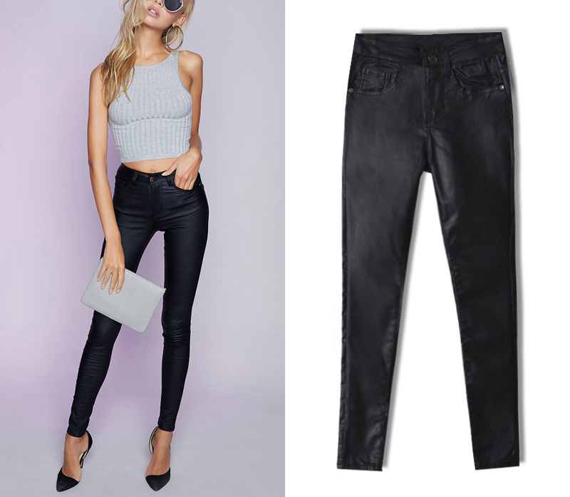 2017 New Hot Eu Models Women Sexy Slim PU Pockets Leather Pencil Pants Motor Style All-Match Fleece Trousers Slim Faux Leather (5)