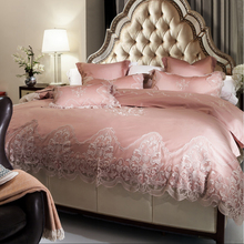 French Egyptian cotton 800TC satin embroidery lace Wedding bedding set luxury duvet cover flat sheet bed linen/quilt cover set