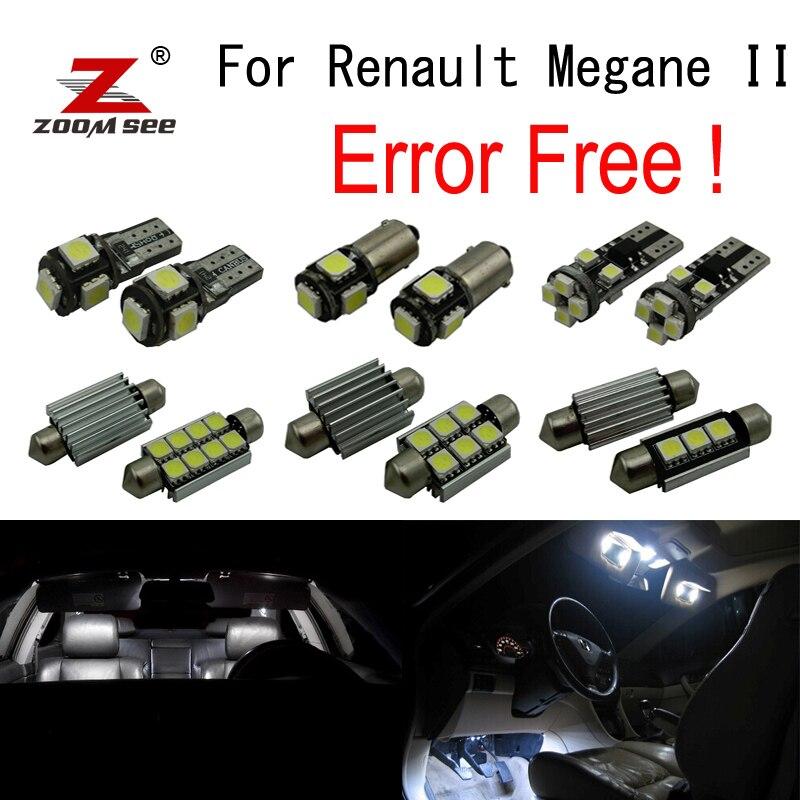 13pcs bulb for Renault for Megane II  Hatchback Sedan Coupe Convertible LED Interior Light Kit Brake Stop Tail lamp (2003-2007)<br>