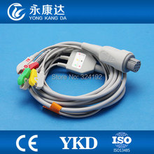 Free shipping S&W Artema 3 lead one-piece series patient ECG cable,10pin/IEC/CLIP ecg lead,CE/ISO13485(China)
