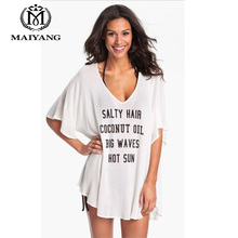 White Beach Tunic Letter Wear Cover Up Women Free Size Swimwear Solid Swimsuit Beachwear Outings Summer Dress Ups Costume 1235(China)