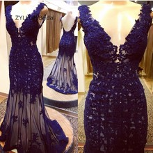 ZYLLGF Bridal Sexy Deep V Neck Lace Appliques Victorian Prom Dresses Long Mermaid Formal Women Imported Party Dress SA91