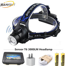 Lnduction Sensor LED Headlamp IR XM-L T6 Headlight Lantern Head Lamp Rechargeable18650 Flashlight Headlamps Lanterns Flashlights