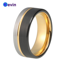 Nice wedding band 3 color silver black gold color tungsten carbide ring for men and women(China)