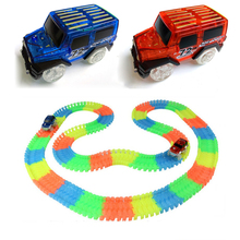 Miraculous Glowing Track Bend Flex Flash in the Dark Assembly Car Toy 60/100/165/220pcs Glow Racing Track Set