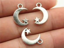 WYSIWYG 9pcs 17*11mm 3 Colors Antique Silver, Antique Gold, Antique Bronze Moon And Star Charms
