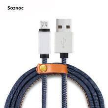 Soznoc Cowboy Leather Charging Data Sync Micro USB Cable For iPhone For Samsung For Android phone Data transfer Charger Cable
